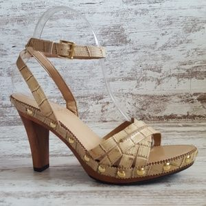 🔵Franco Sarto Leather Snakeskin Strappy Wood Heel